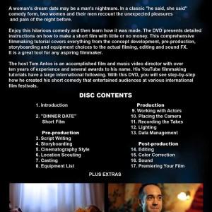 DVD Back Cover - Dinner Date Short Film School