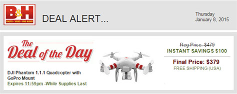 deal of the day Jan 8 2015 DJI Phantom